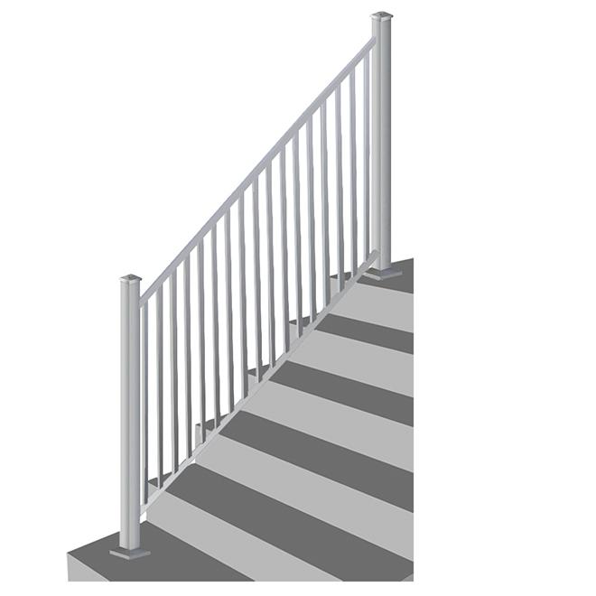 """Iron Stair Railing - 34"""" x 72"""" - Silver"""