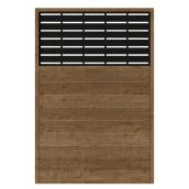 Wood Privacy Panel Boardwalk -  73.5 x 49.75 - Brown/Black