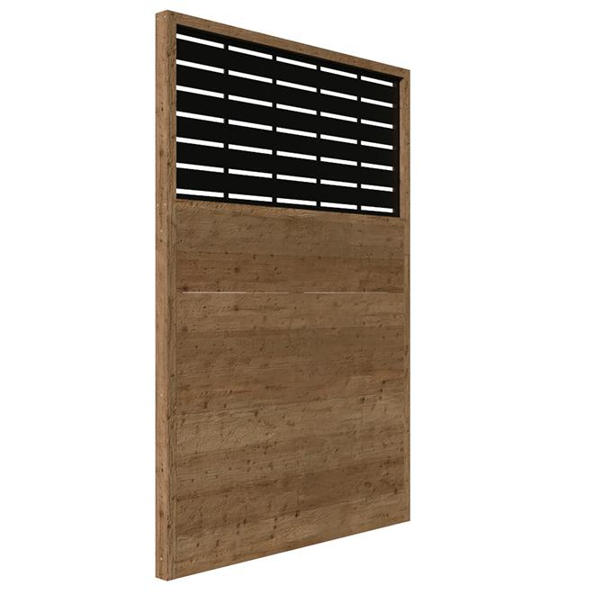 Wood Privacy Panel Boardwalk -  73.5 x 49.75 - Brown/Black