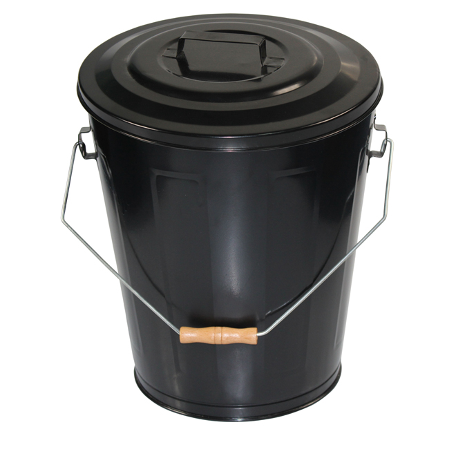 "Ash Bucket - Steel - 16"" - Black"