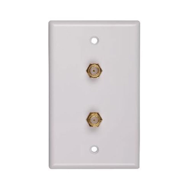 Double Coaxial Cable Wall Plate - White