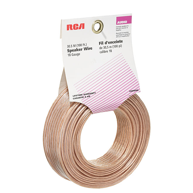 Speaker Wire - Copper/PVC - 100' - Gauge 18 - Gold