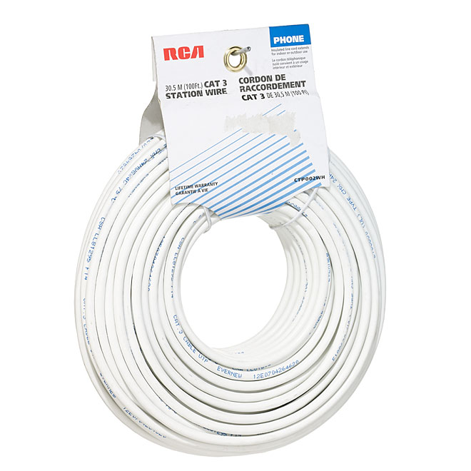 CAT 3 Phone Wire - 100' - White