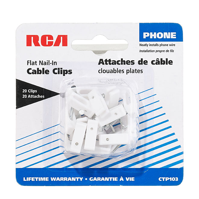 Flat Nail-In Cable Clips - White - 20/Pack