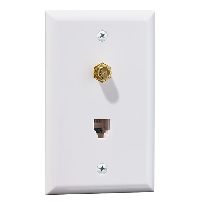 Wall Plate for Phone/Coaxial - White