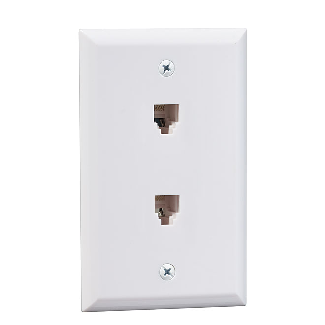 Double Wall Plate for Telephone - White