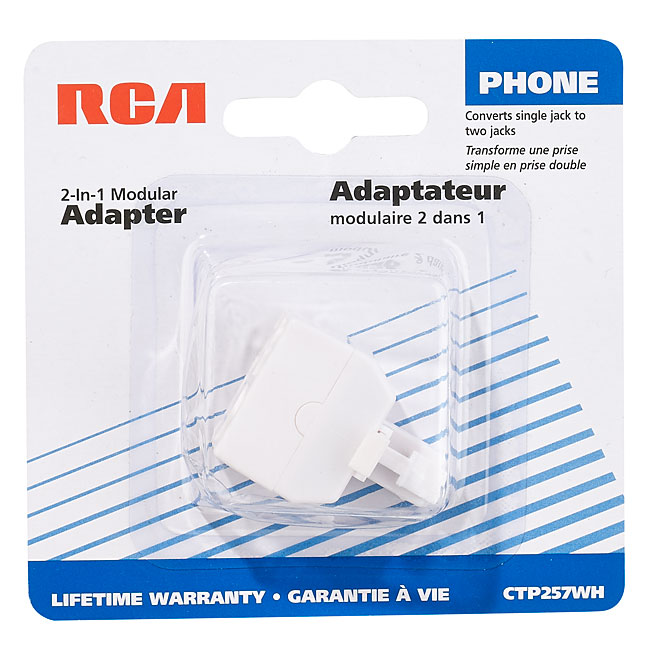 2-in-1 Adaptor for Telephone Outlet - RJ11 and RJ14 - White