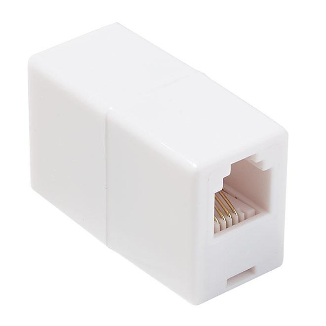 Telephone Cord Coupler - RJ11 and RJ14 - White