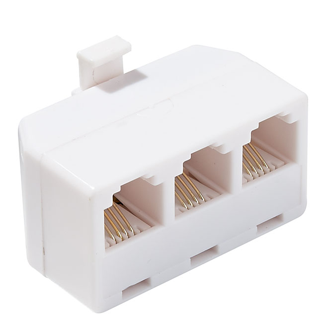 3-in-1 Adaptor for Telephone Outlet - RJ11 and RJ14 - White