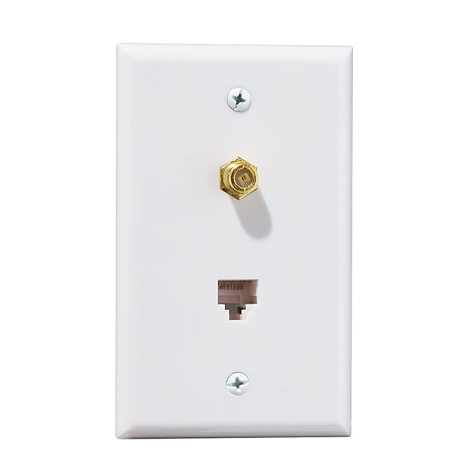 Wall Plate - Telephone/Coaxial / White