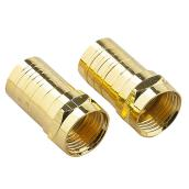 F-Type Connector for Coaxial Cable - Twist - Gold - 2/PK