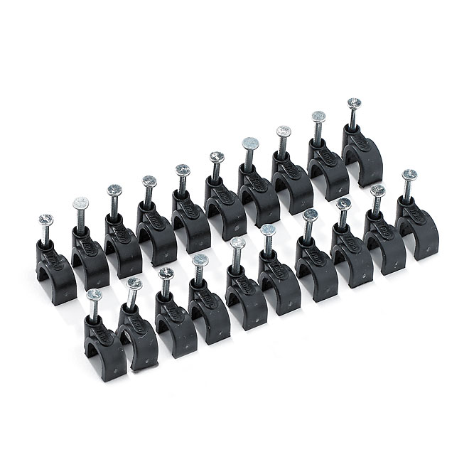 Coaxial Cable Clamp - Nail-In - 20/PK - Black