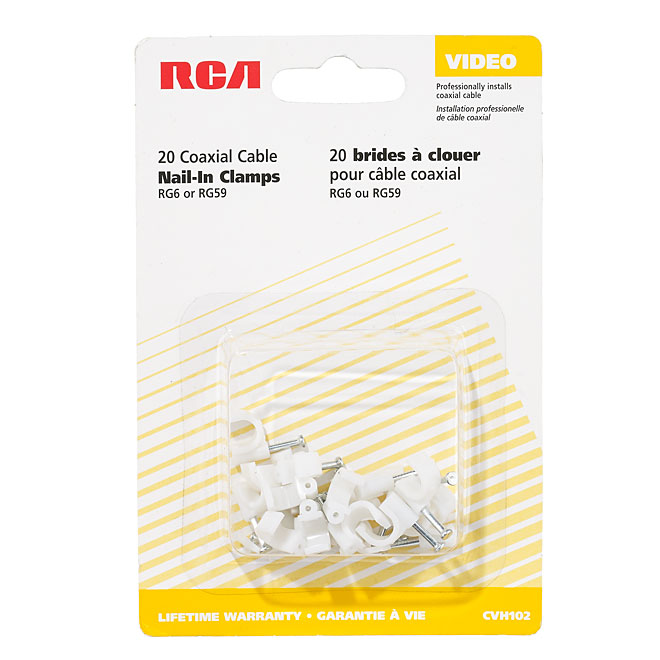 Coaxial Cable Clamp - Nail-In - 20/PK - White