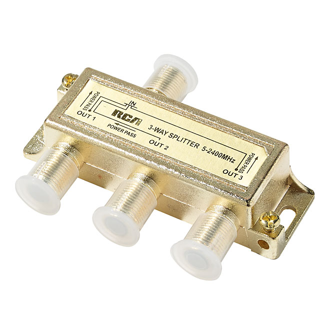 Séparateur de signal pour câble coaxial, 3 voies, 2,4 GHz, or