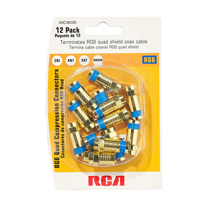Connecteur F vissable pour câble coaxial, doré, 12/pqt