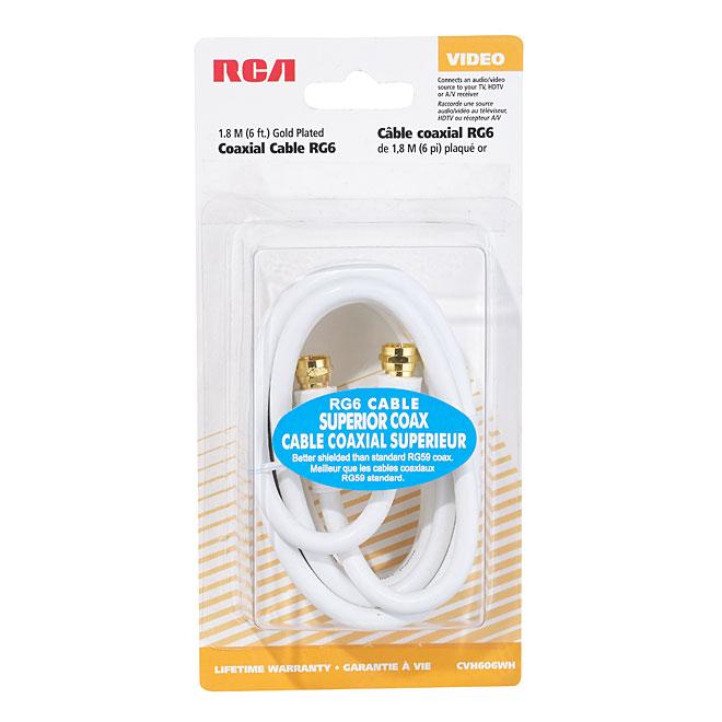 Câble coaxial RG6, 6', blanc