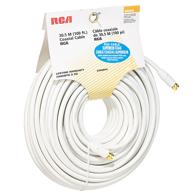 RG6 Coaxial Cable - 100' - White