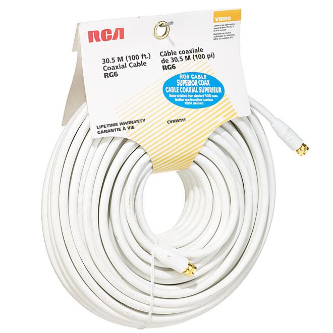 Câble coaxial RG6, 100', blanc