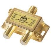 2-Way 3 GHz Coaxial Signal Cable Splitter - 3 GHz - Gold