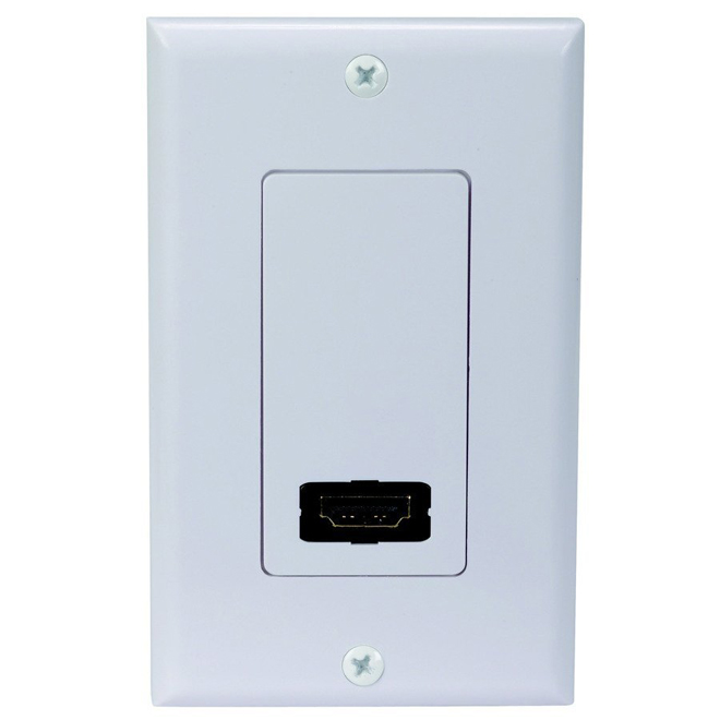 Single HDMI Port Wall Plate - White