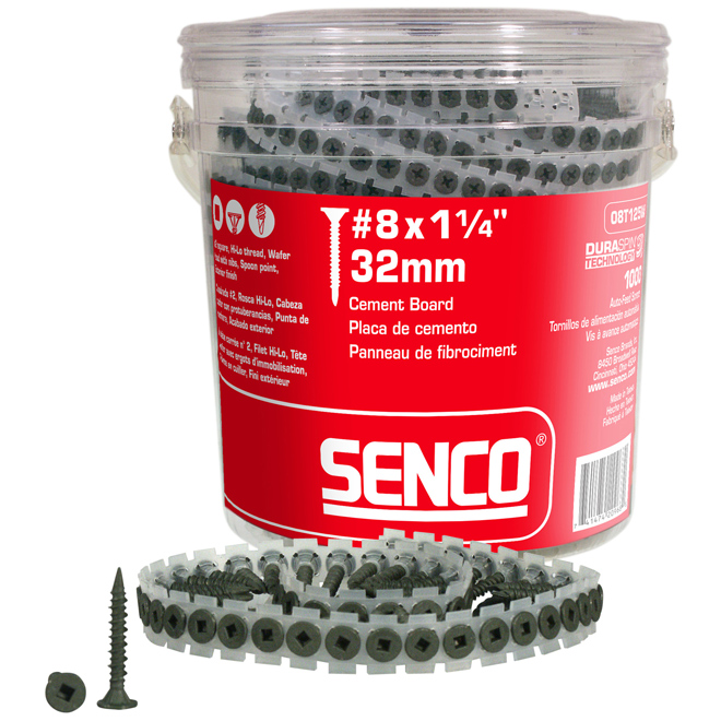 "1 1/4"" #8 Screws for Cement Board, Bucket of 1000"