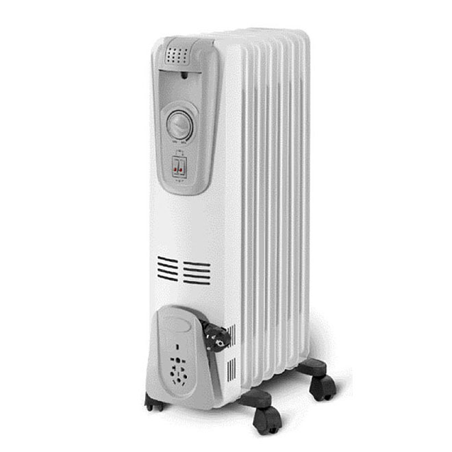 7-Fin Oil Radiator - 1500 W - Steel/Plastic - White