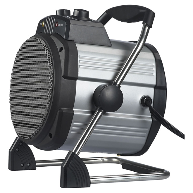 Chaufferette portative en acier, 750 à 1 500 W, gris/noir