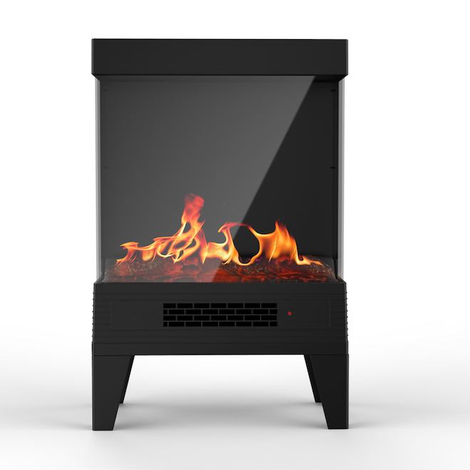 Style Selections Electric Stove with Flame Effect and 3-Sided Window - 24.6-in x 15.98-in - Black