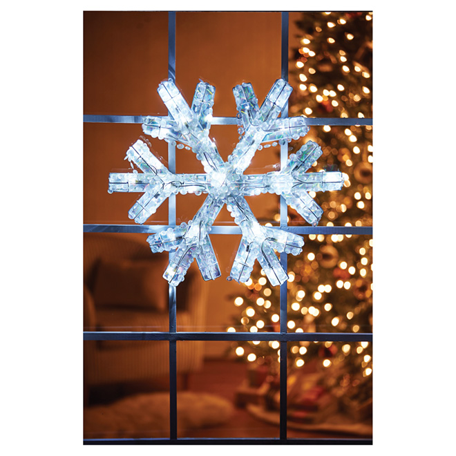 "Lighted Snowflake Decoration - 40 LED - White - 25"""
