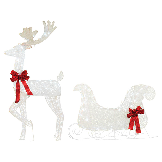 """Illuminated Reindeer/Sled - 52"""" - Fabric/Wire - Red/White"""