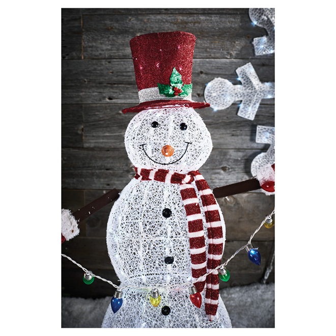 "Illuminated Snowman- 52"" - Fabric/Wire - Red/White"