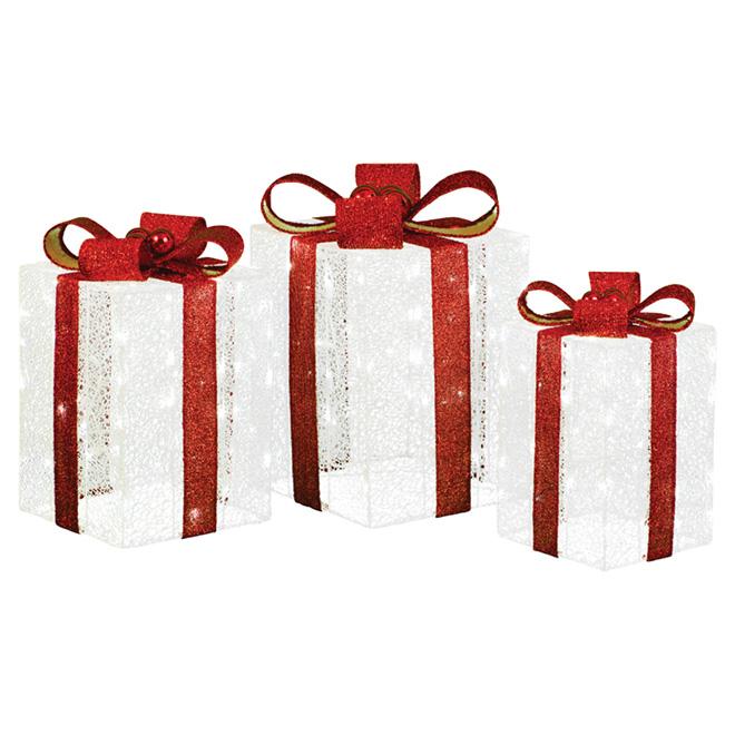 """Boîtes à cadeaux illuminés, 19/21/23"""", tissu/fil, rouge/blanc"""