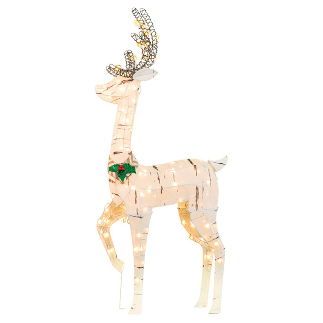 "Illuminated Reindeer- 52"" - Fabric/Wire - Birch"