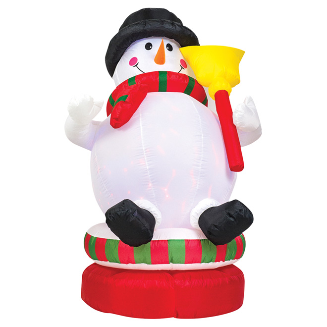 """Animated Inflatable Snowman - 74"""" - Plastic - Multicolored"""