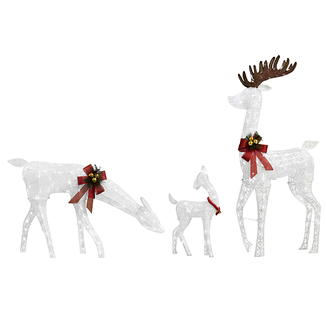 Deer Family - 230 LED Lights - Fabric - Set of 3