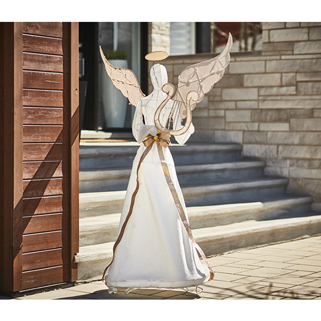 Lighted Angel with Harp - 140 LED Cool White Lights - 70''