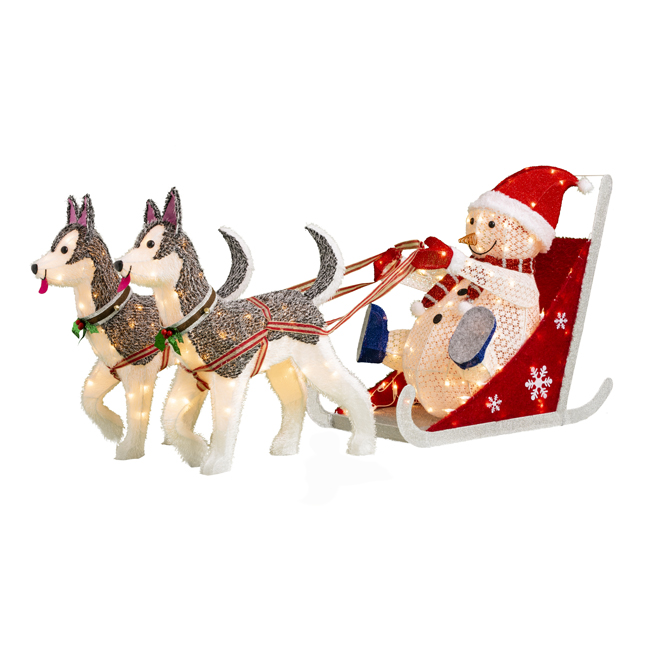 Lighted Snowman in Sleigh with Dogs - Illuminated