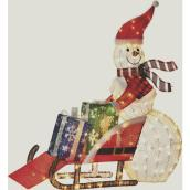 Holiday Living Snowman With Sled - Lighted - 41-in - Metal/Fabric - Multicolour