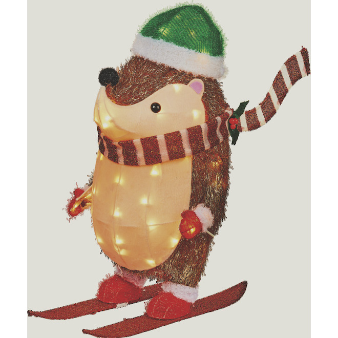 Holiday Living Lighted Skiing Hedgehog Decoration - 28-in - Metal/Fabric - Multicolour