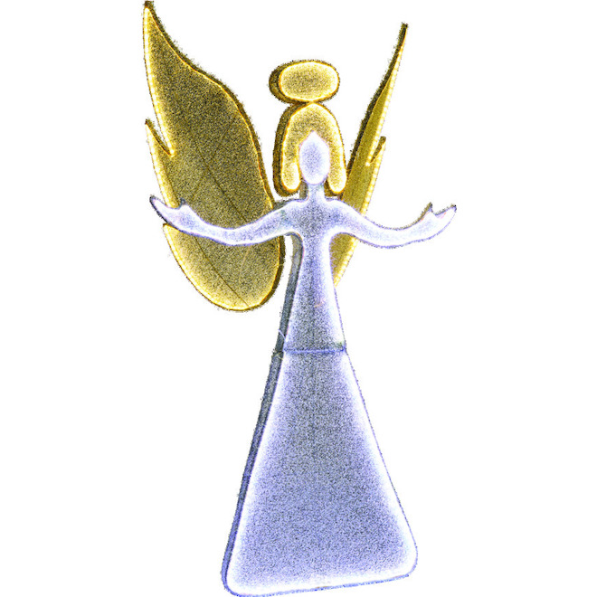 Holiday Living Illuminated Angel - 48-in - Metal/Fabric - Champagne/White
