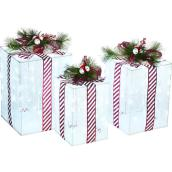 Holiday Living - Lighted Gift Boxes - 23-in - 21-in - 18-in - 3/Pck