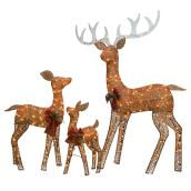 Holiday Living 3-Pack 60-in Freestanding Deer Decoration with White Incadescent Lights