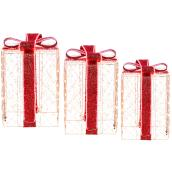 Holiday Living 3-Pack 23-in Freestanding Gift Box Decoration with Warm White Lights