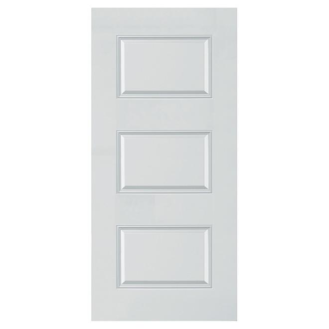 Porte à 3 panneaux en acier, 34'' x 80'' x 7 1/4'', blanc