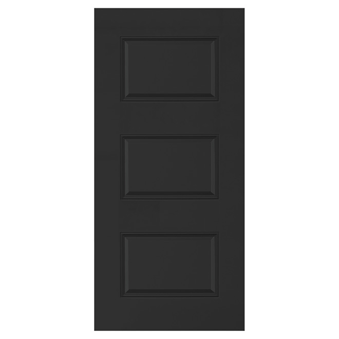 3-Panel Steel Door - 34'' x 80'' x 7 1/4'' - Black