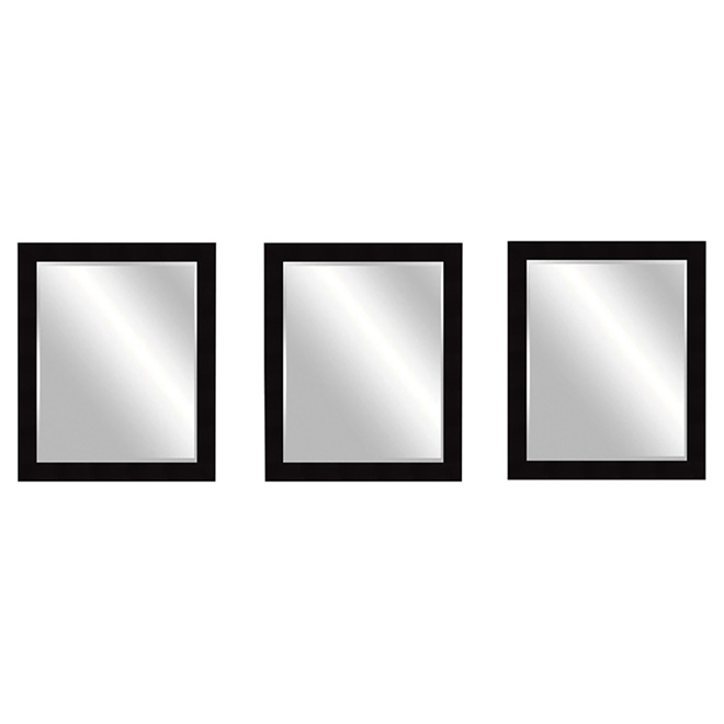 "Mirror Set- 3 pieces -12"" x 12"" x 0.56""- Black"