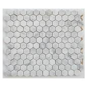 Uberhaus Hexagon Marble Mosaic - 10-in x 12-in - 5/Box