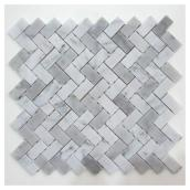 Uberhaus Camber Marble Mosaic - 12-in x 12-in - 4.94 sq. ft. - White