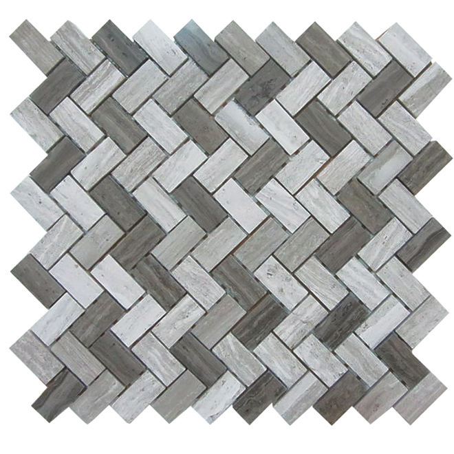 Uberhaus Camber Marble Mosaic - 12-in x 12-in - 4.94 sq. ft. - Wooden Grey