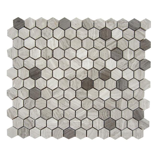 "Marble Mosaic 10"" x 12"" - Hexagon Grey Wood - Box of 5"
